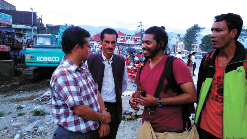 Shemin interacts with the people of Nepal for his work  (above and below)