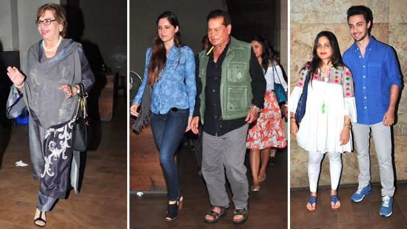 The screening also saw the presence of Salman's parents Salim and Helen along with Alvira and Aayush Sharma.