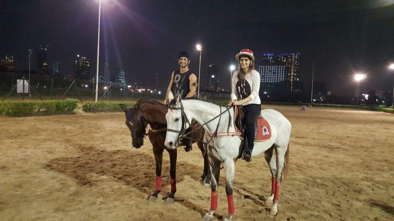 Kriti Sanon and Sushant Singh practice horse riding for 'Raabta'.