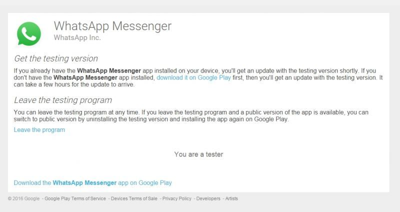 WhatsApp Beta Testing Program