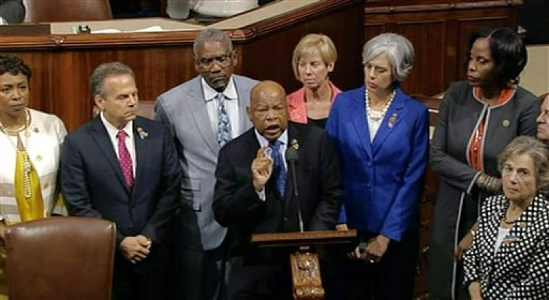 John Lewis leads more than 200 Democrats in demanding a vote on measures to expand background checks and block gun purchases by some suspected terrorists in the aftermath of last week's massacre in Orlando, Florida, that killed 49 people in a gay nightclub. (Photo: AP)