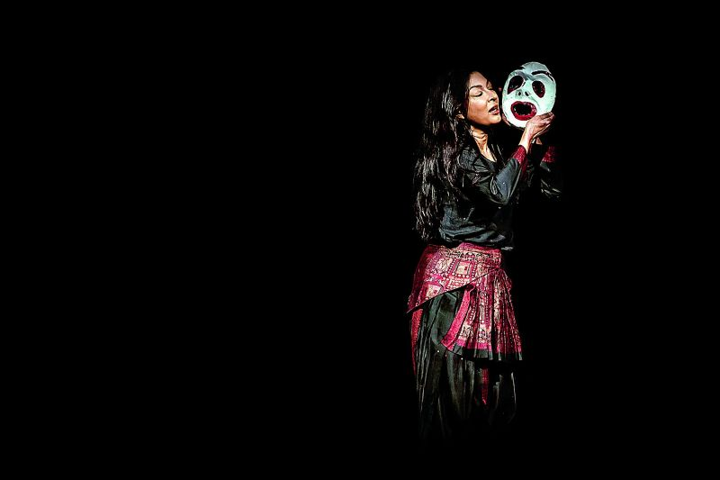 Left alone in the dark, guided by the fears imposed by the society, as performed by Mallika Sarabhai, from her  contemporary dance production Women with Broken Wings