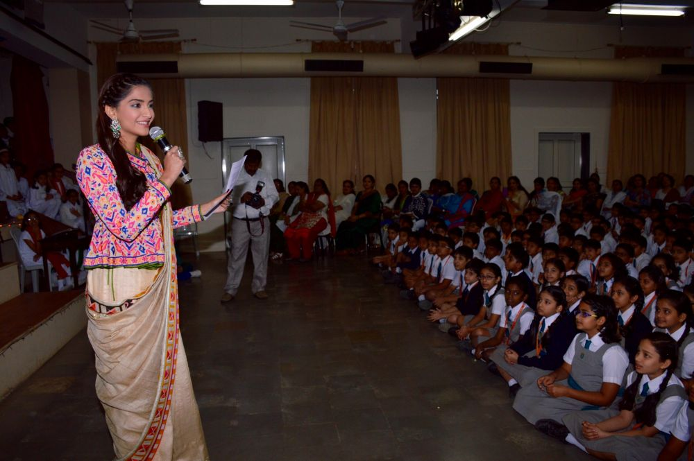 Sonam Kapoor delivering a speech at the school.