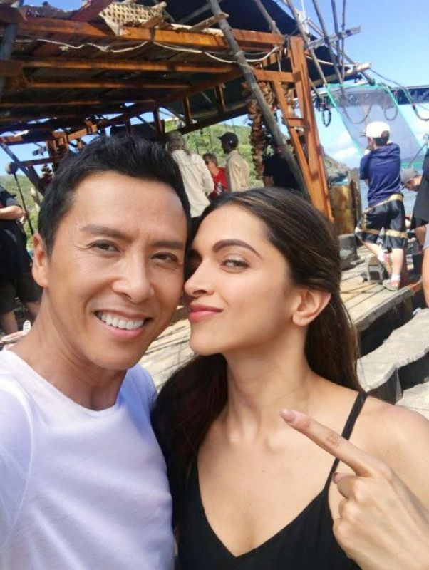 Deepika with Donnie Yen on the 'xXx' sets