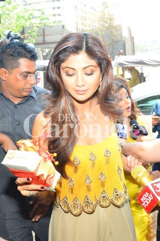 Actress Shilpa Shetty attends Bipasha Basu's mehendi ceremony.