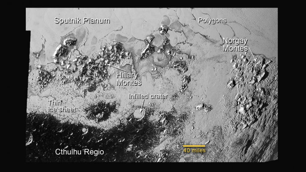 This annotated image of the southern region of Sputnik Planum illustrates its complexity, including the polygonal shapes of Pluto's icy plains, its two mountain ranges, and a region where it appears that ancient, heavily-cratered terrain has been invaded by much newer icy deposits (Photo: NASA)