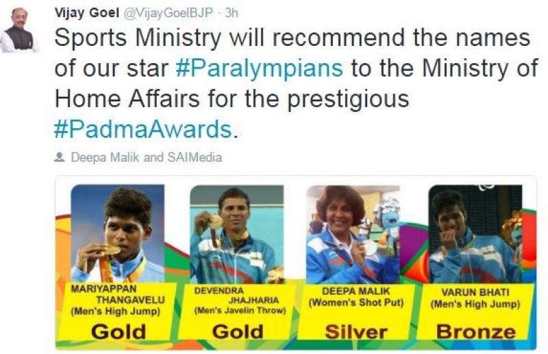 Sports Ministry will recommended Paralympians for Padma awards. (Photo: Vijay Goel/Twitter)