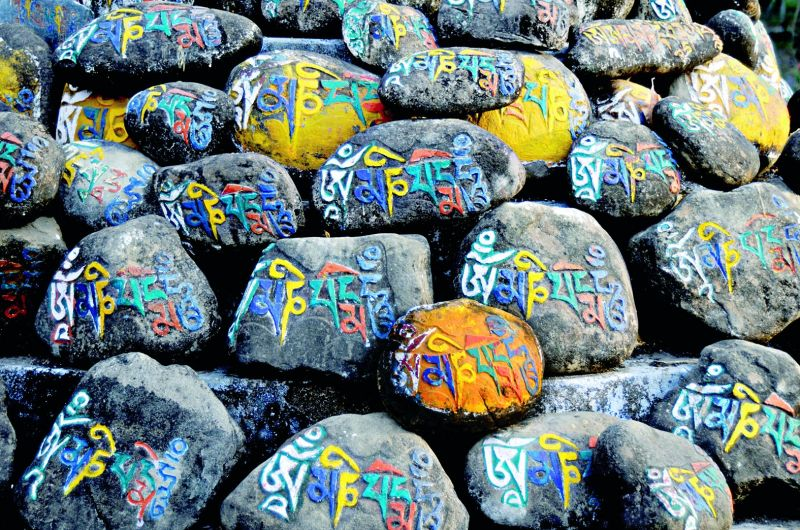 Prayer on stone- Om Mani stones