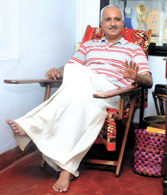 Dr P Vinod Bhattathirippad at his home at Thiruthiyad, Kozhikode.—DC