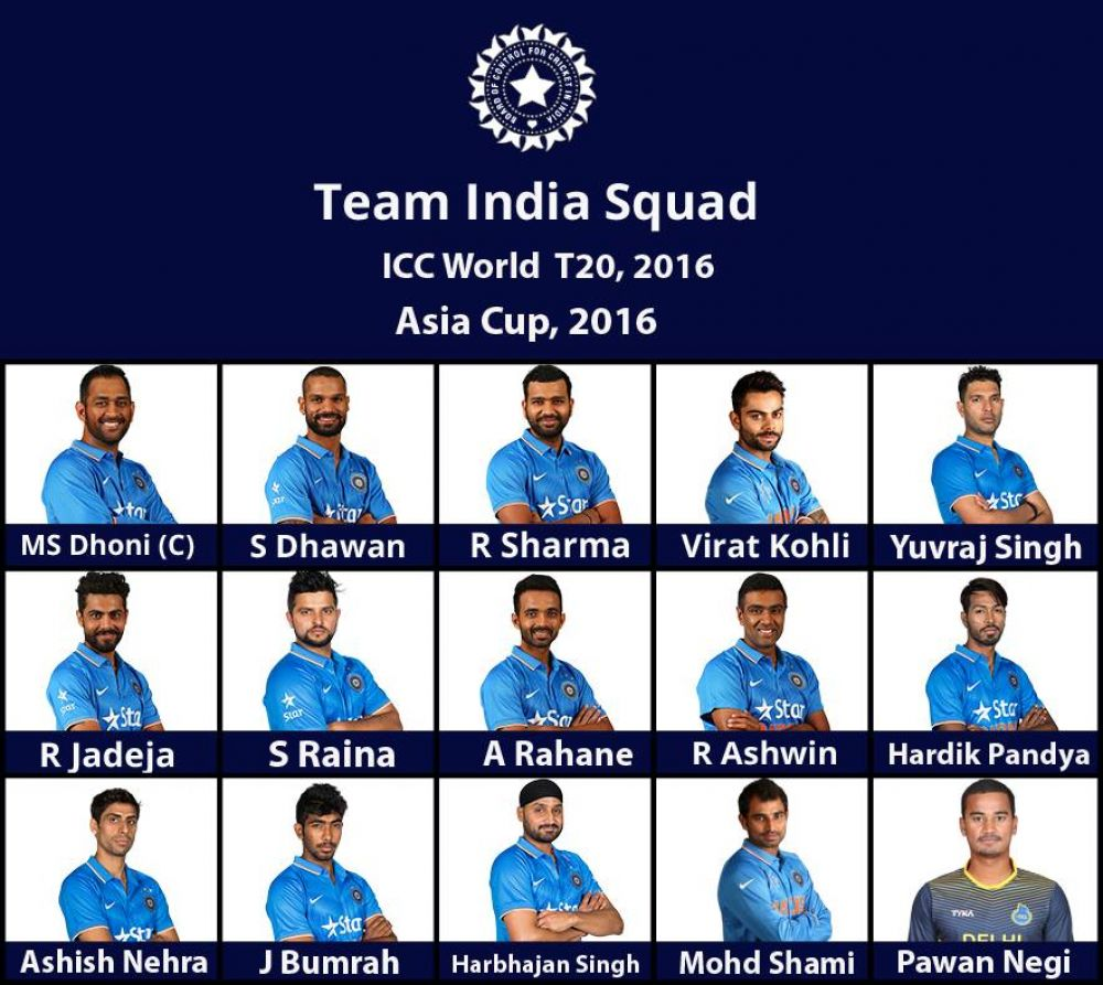 The ICC World T20 and Asia Cup squad. (Photo: Indian Cricket Team/ Facebook)