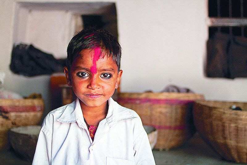 A young boy in Barsana, India