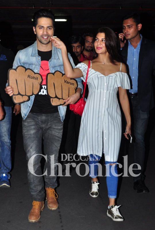 Varun and Jacqueline land in Mumbai