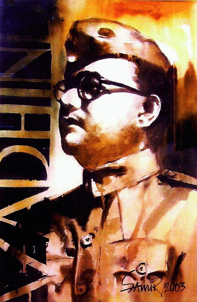 The man and a mystery: Artist Samir Mondal's watercolour of one of Subhash Chandra Bose's most enduring imagery.
