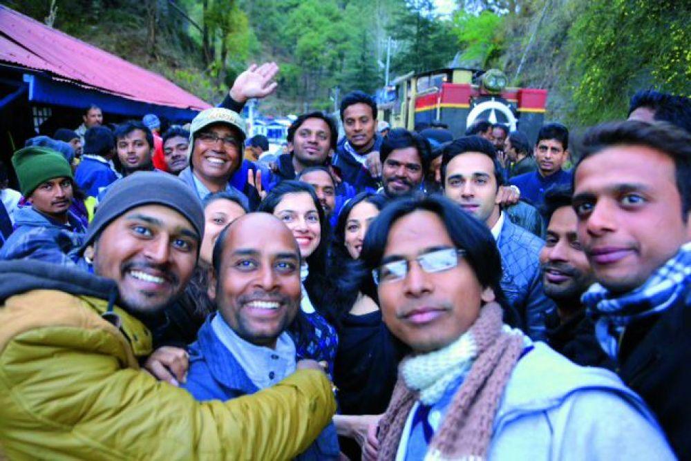 Divya with the film crew in Ladakh