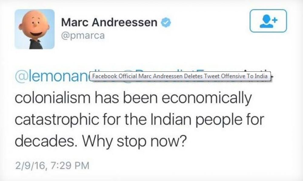 A screen grab of Marc Andreessen's derogatory remark on Indian colonialism.