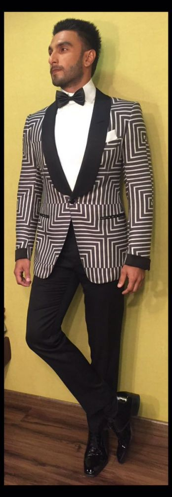 Ranveer Singh strikes a pose in his fashionable tux.