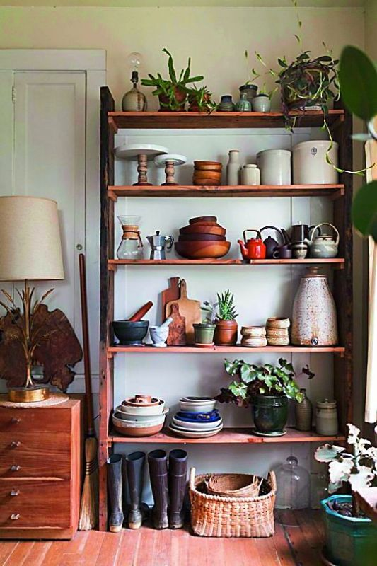 Earthy tones and natural wood accents not only create more storage space but also have soothing vibes.