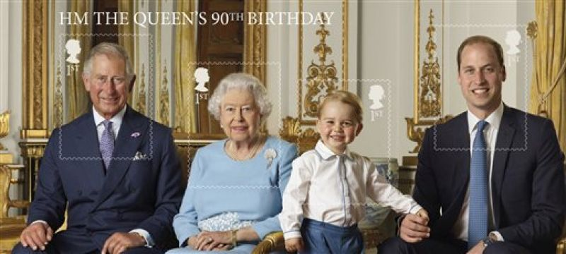 The group photograph has been issued as a sheet that divides into four stamps, one for each of the royals.
