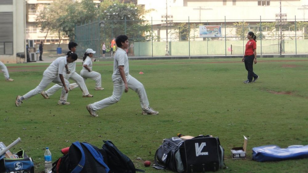 Young girls during a stretching drill at Indian Gymkhana in Mumbai.