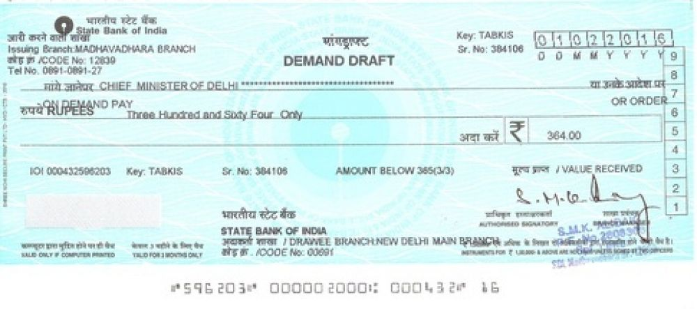 dimand draft For demand drafts payable at ghaziabad, faridabad, gurgaon and sonepat, please select new delhi in the state and city fields for details required in the payable at section for dds to beneficiary address returned undelivered by courier, the draft will be cancelled and credited to your account.
