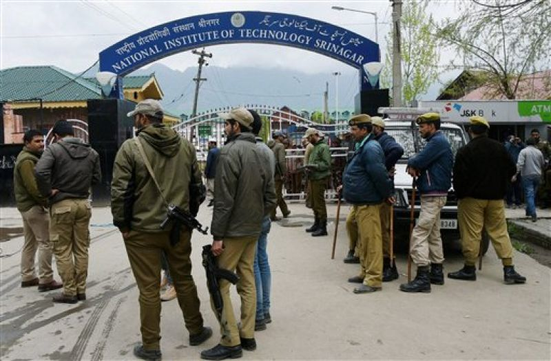Police and CRPF deployed at National Institute of Technology (NIT) following tension between local and non-local students in Srinagar. (Photo: PTI)