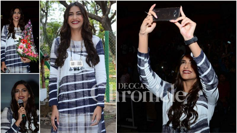 Bollywood actress Sonam Kapoor is on a college hopping spree as she visited yet another college in Mumbai to promote her upcoming film 'Neerja'. (Photo: Viral Bhayani)
