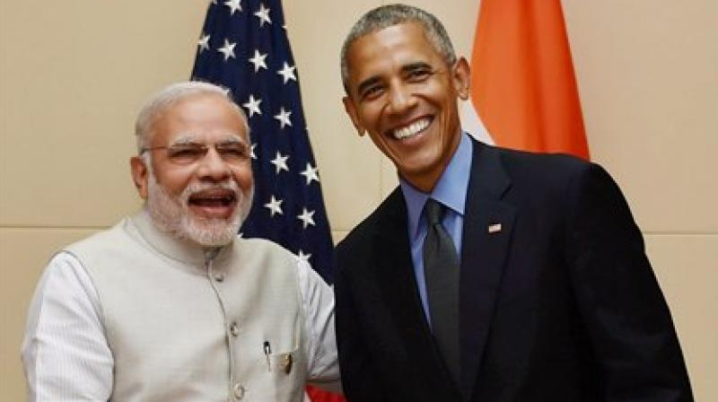 Prime Minister Narendra Modi and US President Barack Obama during a bilateral meeting at 28th and 29th ASEAN Summit in Vientiane, Laos on Thursday. (Photo: PTI)