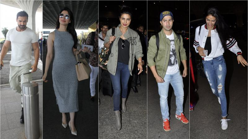 On Wednesday (June, 8th), Bollywood stars Priyanka Chopra, Varun Dhawan, Athiya Shetty and others turned airport into a runaway as they turned heads with their style. (Photo: Viral Bhayani)