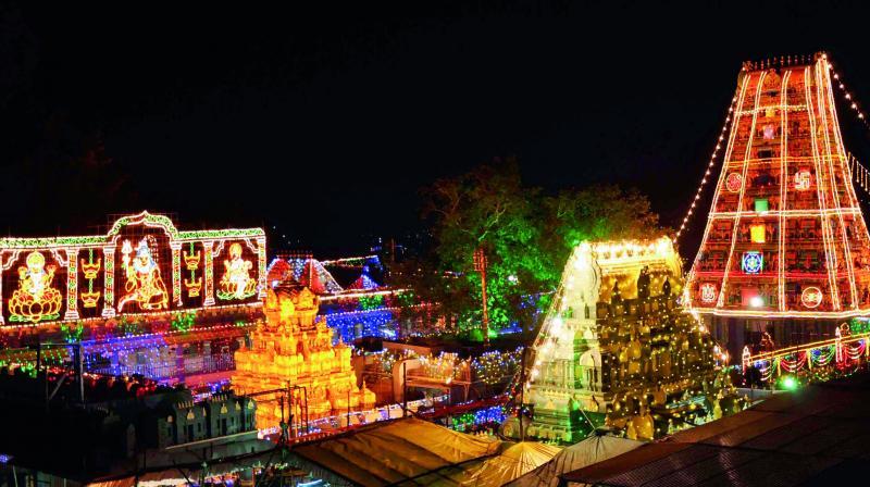 Kanakadurga temple Illuminated on the occasion of Dasara festival celebrations in Vijayawada on Friday. (Photo: DC)