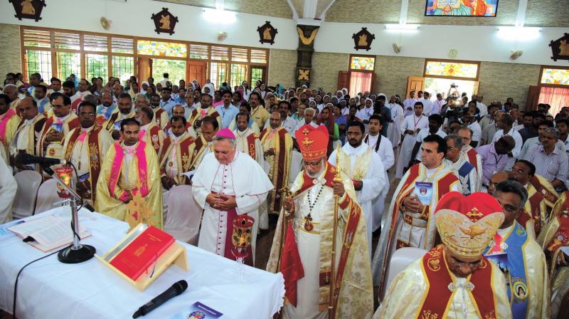 Cardinal Mar George Alencherry of the Syro-Malabar Church inaugurates the fourth Syro-Malabar Major Archiepiscopal Assembly at Kodakara Sahrdaya College of Engineering & Technology in Thrissur on Thursday.  (Photo: DECCAN CHRONICLE)