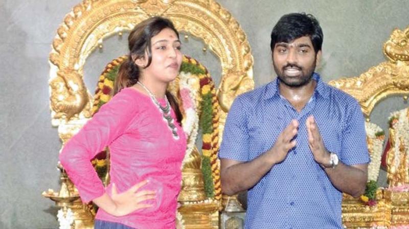 Vijay Sethupathi and Lakshmi Menon at  the film pooja.
