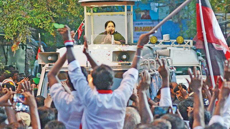 Chief Minister J. Jayalalithaa campaigns at R K Nagar constituency in Chennai on Friday. (Photo: E.K. Sanjay)