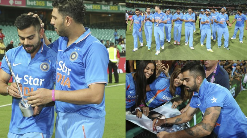 Team India and their glorious moments after clinching the third T20 against Australia in Sydney on Sunday. (Photo: AP)