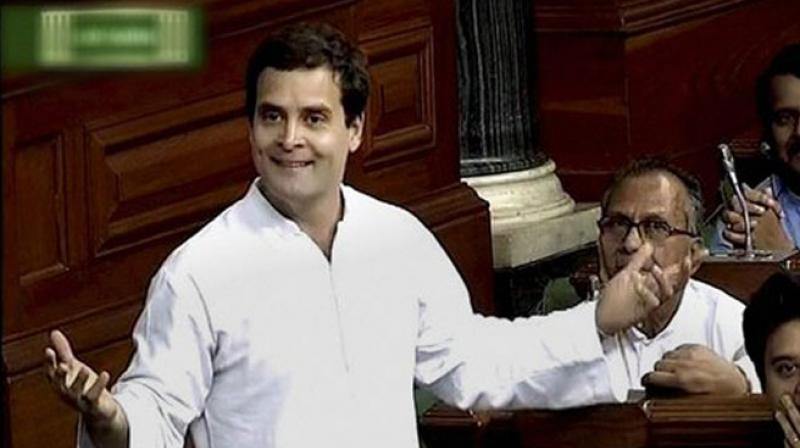 Congress Vice President Rahul Gandhi speaks in the Lok Sabha in New Delhi on Wednesday. (Photo: PTI)