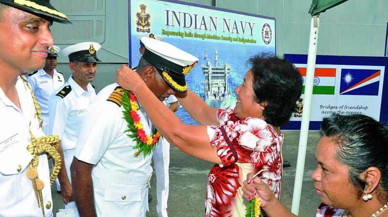 Commanding Officer of INS Satpura, Captain A.N. Pramod and his staff are being welcomed at Port Majuro, Marshall Islands, off Hawaiian Coast on Saturday. The ship is en route to India after participation in RIMPAC-16.