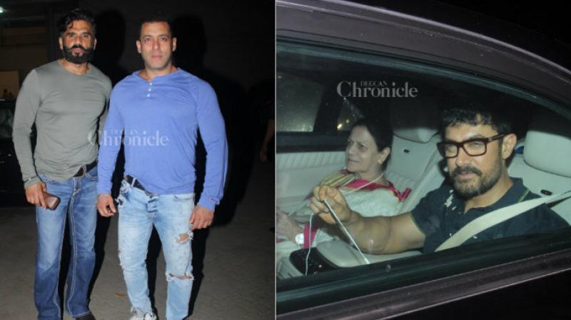 Salman Khan with Suneil Shetty and Aamir Khan with his mother Zeenat Hussain.