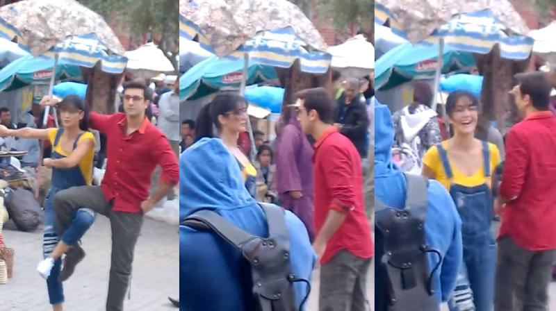 Ranbir and Katrina were all smiles and giggles after successfully pulling off a dance routine.