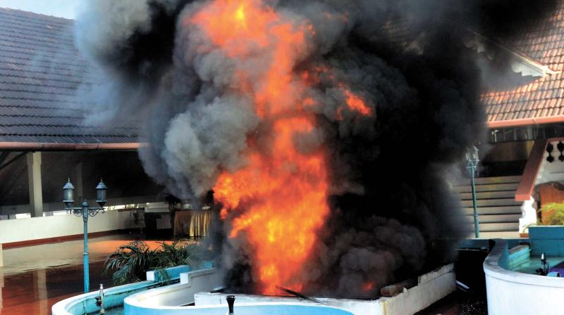 Fire that broke out at a shopping complex in East Fort in Thiruvananthapuram on Sunday afternoon.  (Photo: PEETHAMBARAN PAYYERI)