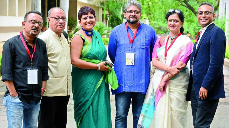 Directors and Producers gracing the event: Partha Sen, Judhajit Sarkar, Paramita Banerjee, Debesh Chatterjee, Satarupa Sanyal and Amit Ranjan Biswas