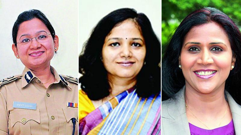 From left : Swati Lakra, IPS, Neetu Kumari  Prasad, IAS and Pavani Reddy,  managing partner