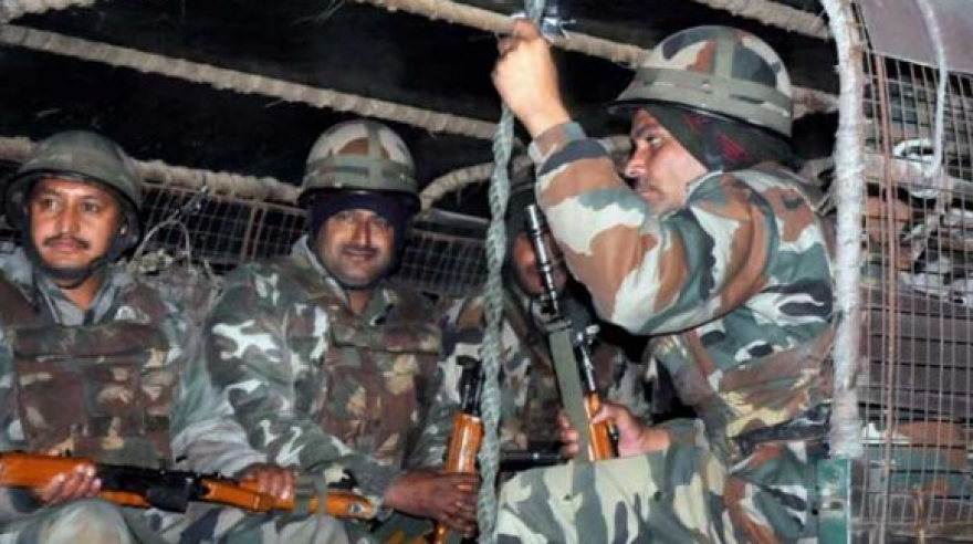 Army personnel during their operation against the militants near the Indian Air Force base in Pathankot on Saturday evening. (Photo: PTI)