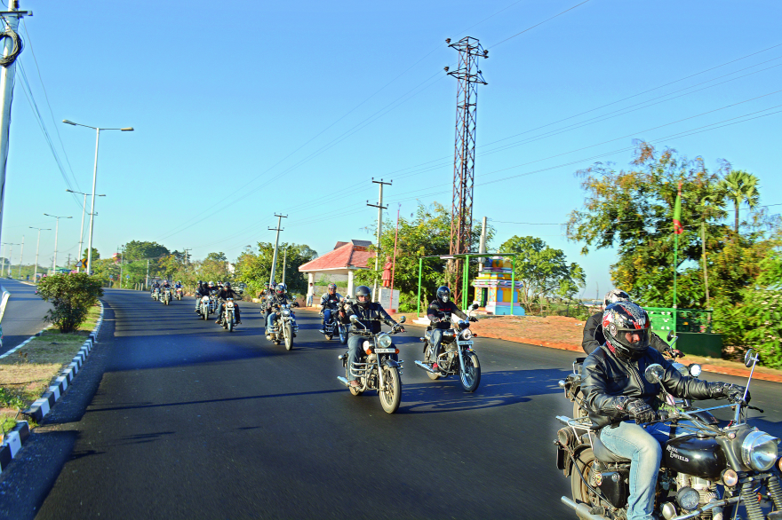 Road kings: Members from  motorcycling group Wolfepack on  the road
