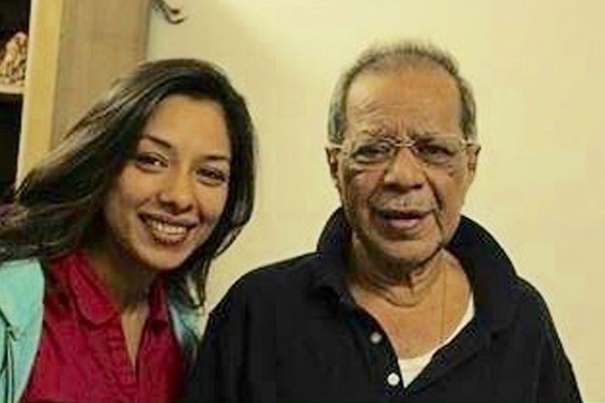 Rupali Ganguly with her father and filmmaker Anil Ganguly.
