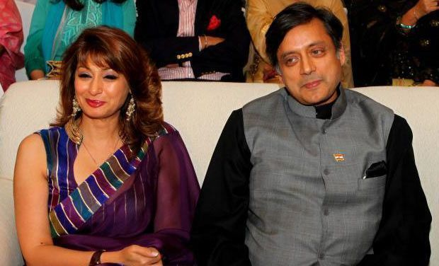 Late Sunanda Pushkar with her husband Shashi Tharoor (Photo: PTI/File)