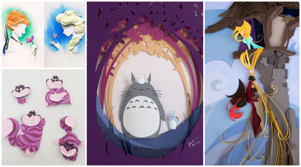 artist makes popular disney characters from layers of paper