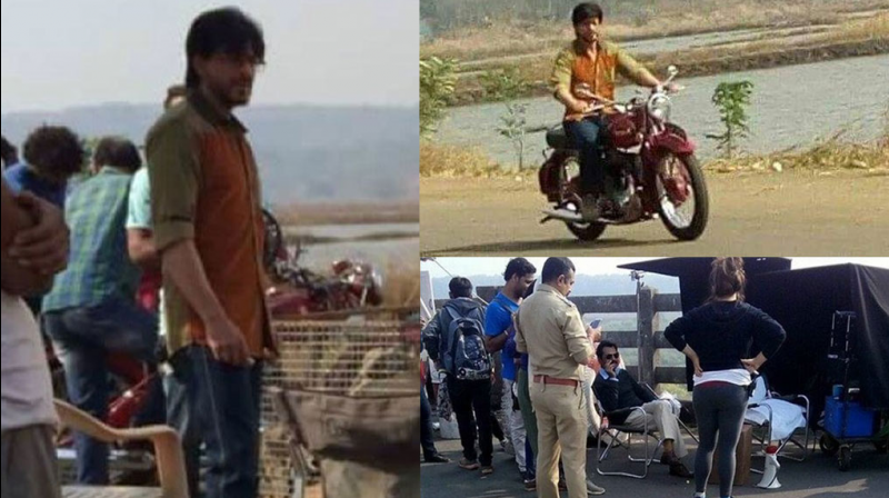 Shah Rukh Khan was spotted riding around on the sets of his upcoming political drama 'Raees'.