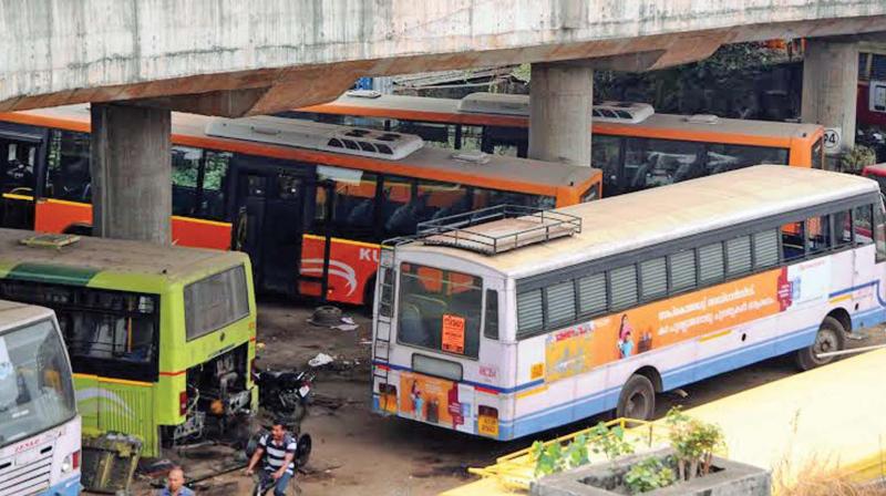 Low-floor buses at the Ernakulam depot awaiting repair.