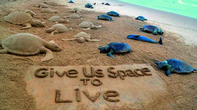 Shocked over the death of a large number of Olive Ridley turtles, renowned sand artist Sudarsan Pattnaik on Wednesday created this art piece at Puri Beach to awaken the society about the threat the endangered species was facing from the movement of mechanised boats.