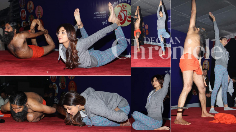 Baba Ramdev and Bollywood actor Shilpa Shetty shared the stage at a yoga shivir in Mumbai on Wednesday. (Photo: Viral)