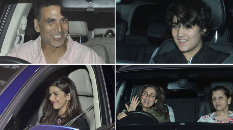 Akshay Kumar held a special screening of his film 'Airlift' on Thursday evening for a few close friends and his family. Photo: Viral Bhayani
